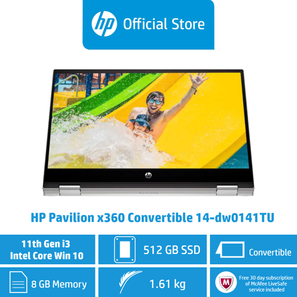 HP Pavilion x360 Convertible 14-dw0141TU Laptop / Intel® Core™ i3-1115G4 / 8 GB DDR4-3200 SDRAM / 512 GB PCIe® NVMe™ M.2 SSD / Windows 10 Home 64 / 11th Generation / Intel UHD Graphics [ Ship by 28 Feb 2021]