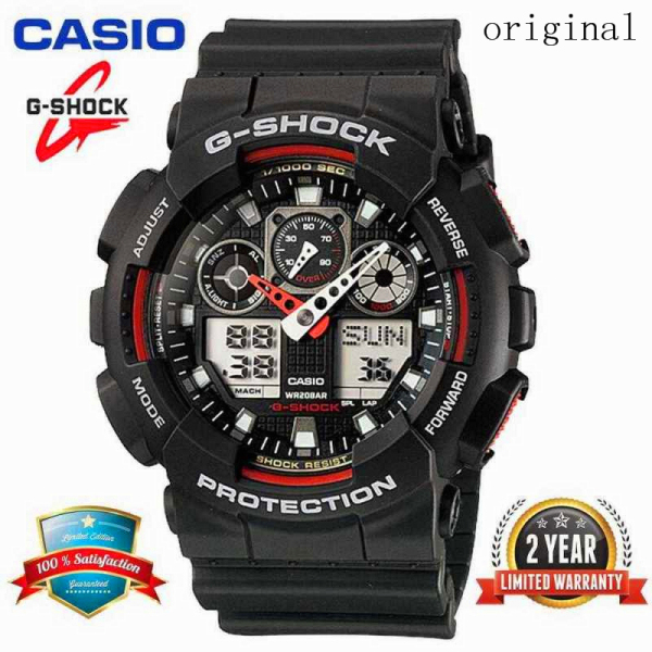 (ready Stock) 2021 Original Casio G Shock ga-100-1a4 Men Sport Watch Duo W/time 200M Water Resistant Shockproof and Waterproof World Time LED Auto Light Wist Sports Watches with 2 Year Warranty free shipping Malaysia