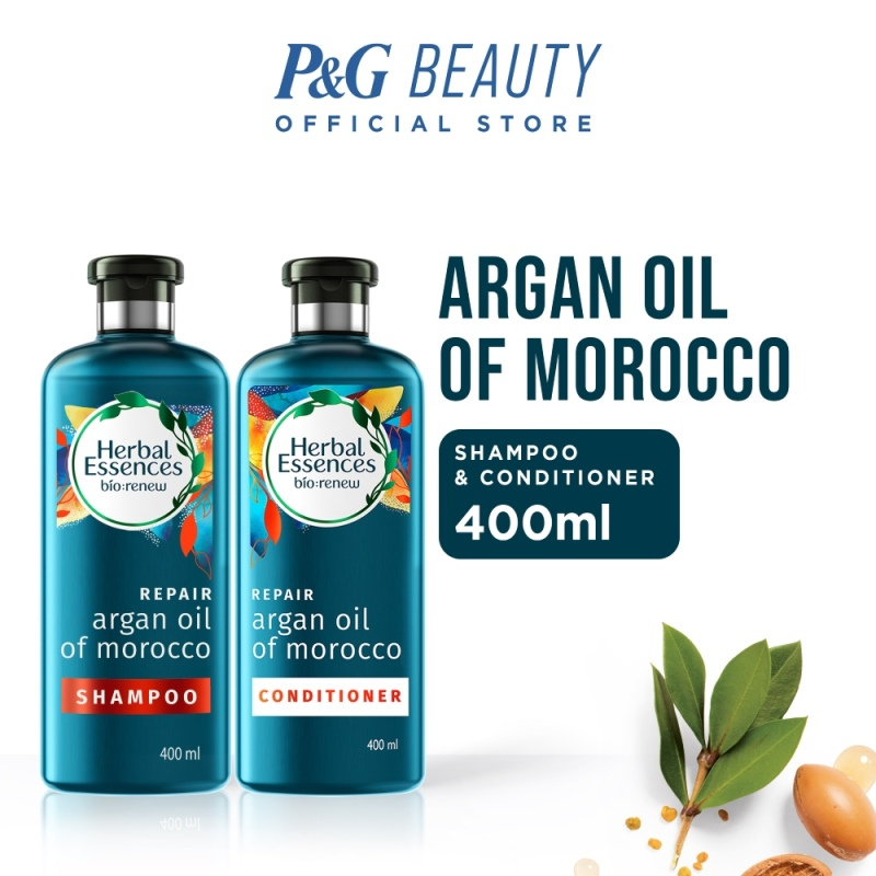 Buy [Bundle of 2] Herbal Essences Repair Shampoo Argan Oil of Morocco 400ml + Conditioner 400ml Singapore