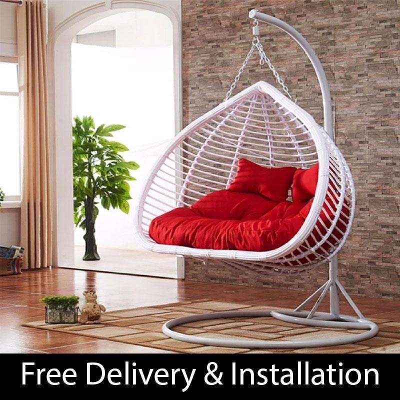 Home Factor Cocoon Double Swing Chair S816 White(Outdoor Seating / Swing Chair)  (Free Delivery & Installation) - Balcony Swing chair/Relax Chair/ Lounge Chair/Outdoor Furniture (SG)
