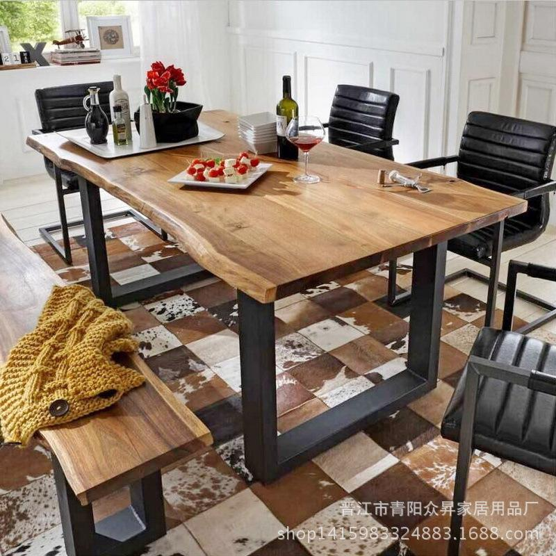 European Style Iron Art Solid Wood Furniture Restaurant Rectangular Dining Table Hotel Table Household Irregular Dining Tables And Chairs Set