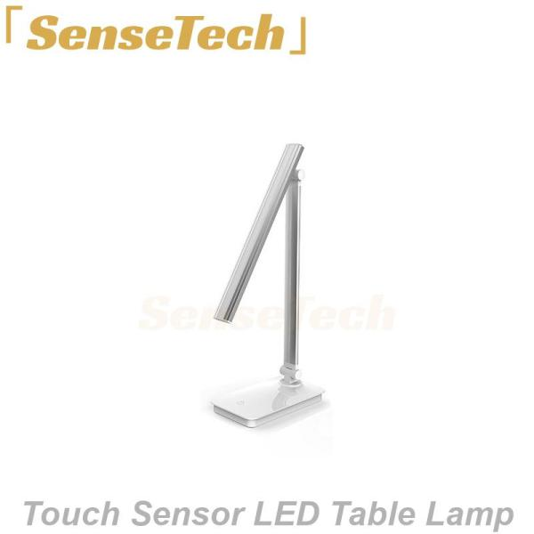 SenseTech LED Table Lamp (Aluminum Silver) - Study; Rechargeable; Touch sensor; Built-in battery; Portable; Wireless
