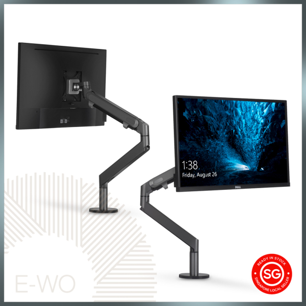UPPER Single Arm Monitor Stand | Single Screen Mount, Monitor Bracket | VESA Mount - 100mm & 75mm Compatible | Invisible Cable Management | Desk/Grommet Hole Clamp  | Gas Spring