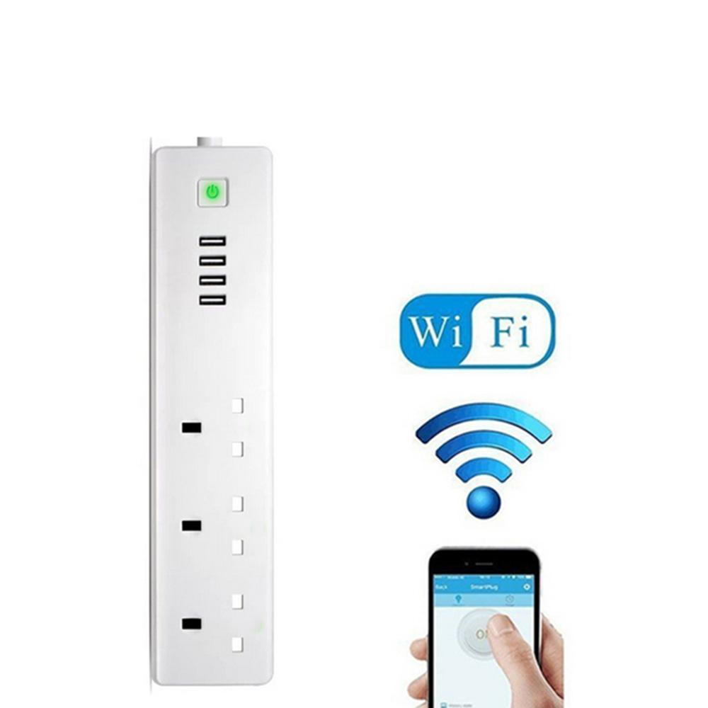 Goodscool Smart Uk Wifi Power Strip Socket 4usb Socket Socket (pearl White, 280x60.3x28mm, Phosphor Bronze) By Goodscool.