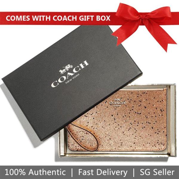 Coach Small Wristlet In Gift Box Boxed Small Wristlet With Star Glitter Gold / Silver # F38641
