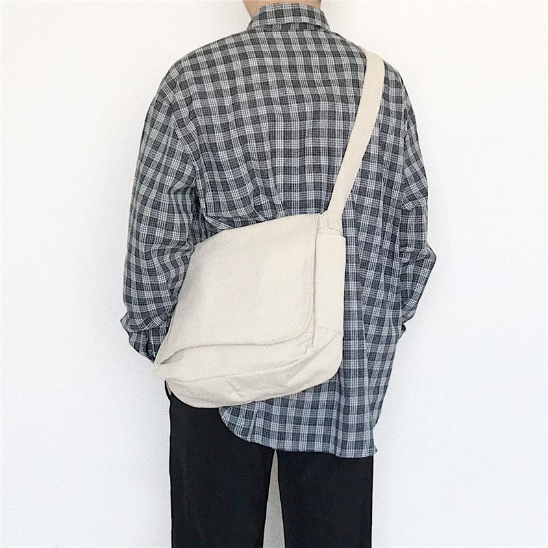 White Seven Homemade Canvas Bag Japanese-style Harajuku Shoulder Bag Large Capacity Messenger Bag Backpack Students Shoulder School Bag Men And Women