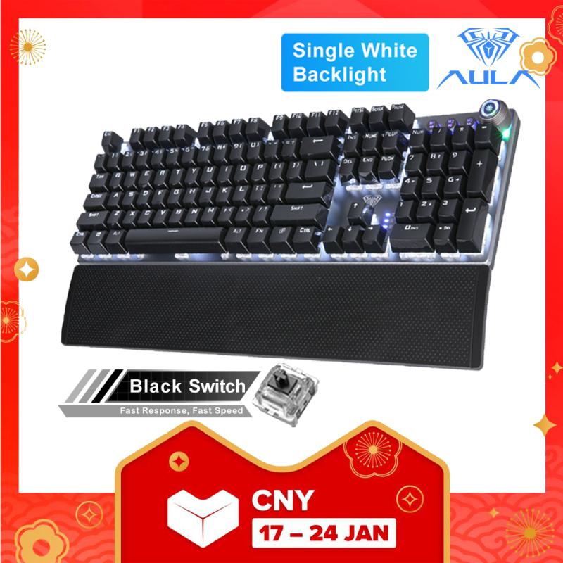 AULA F2058/F2088 Mechanical Gaming Keyboard wrist rest Multimedia Knob,  Marco Programming metal panel LED Backlit keyboard for Computer Gamer Singapore