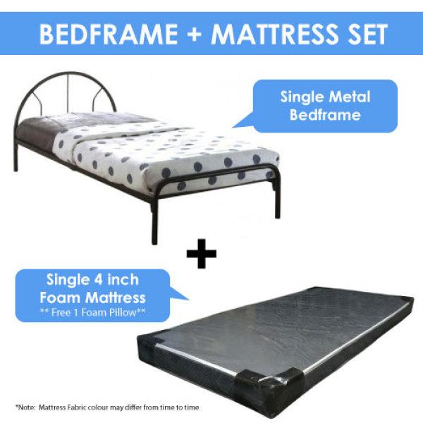 [A-STAR]  Cheapest Single Sleek Metal Bed frame + Mattress Set