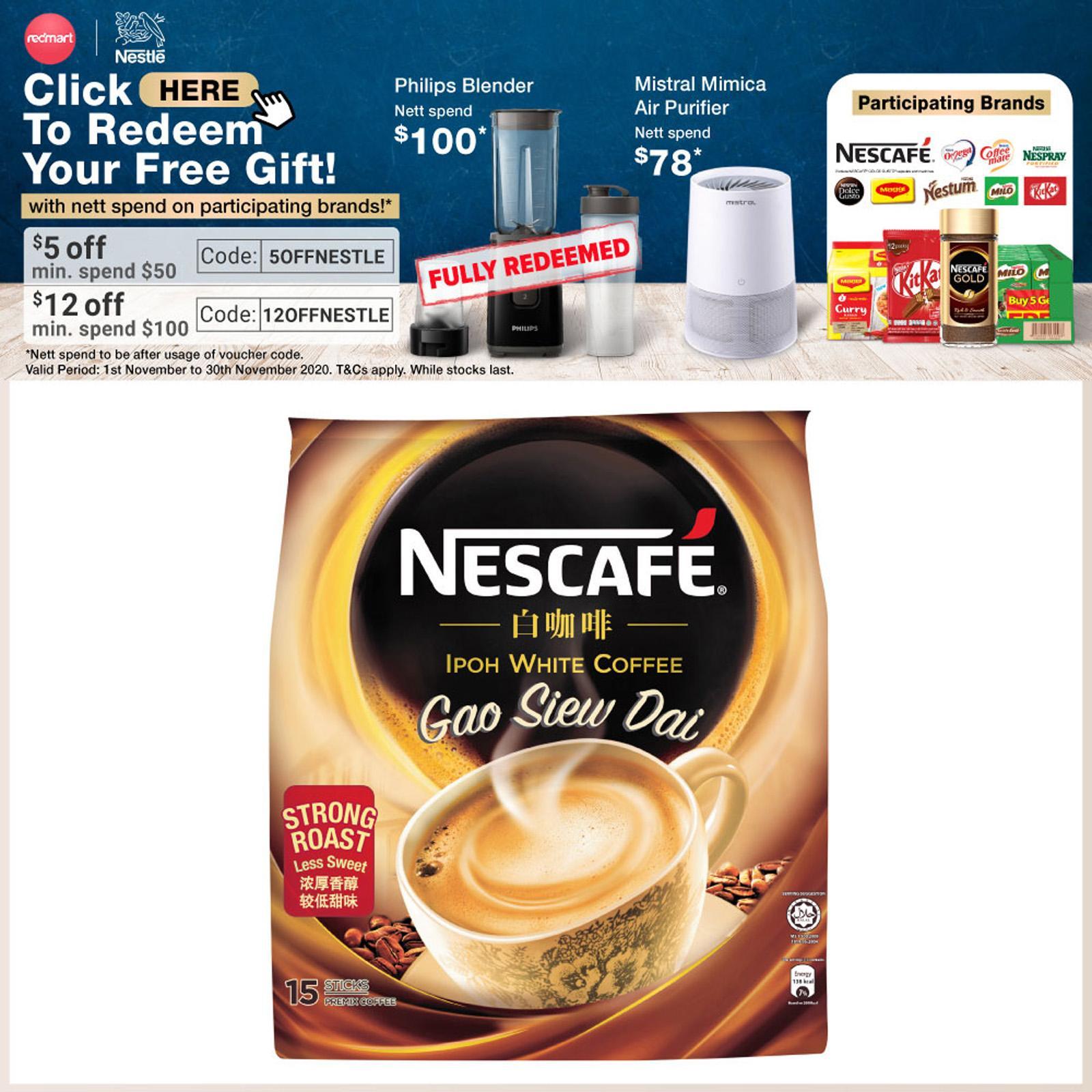 Nescafe Instant S'pore White Coffee Gao Siew Dai Hazelnut ...