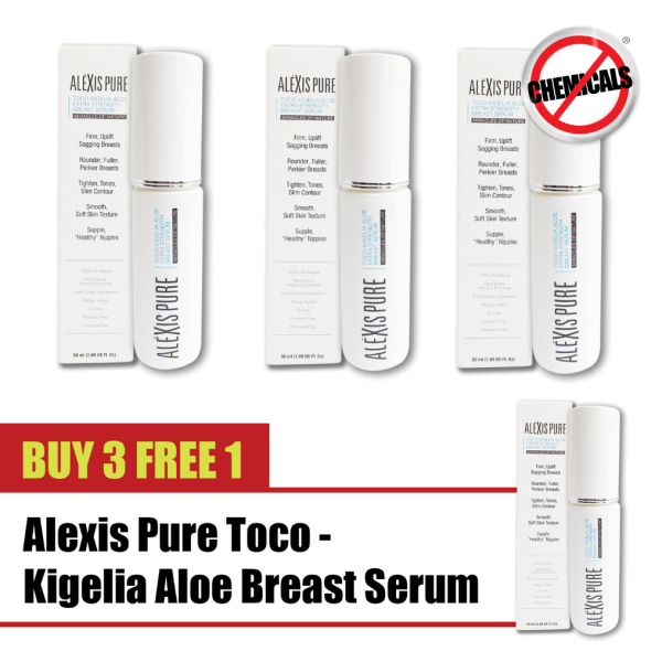 Buy Buy 3 Free 1 Alexis Pure Toco-Kigelia Aloe Extra Strength Serum ENHANCE: 100% All Natural Herbal Based Chest, Breast, Bust, Boobs Serum For Firm, Firming, Lift, Lifting, Lifted Perkier, Sexy, Sexier, Beautiful Curves & Shape -50ml Singapore