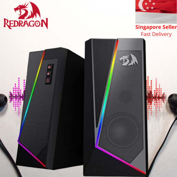 Redragon Anvil GS520 RGB PC Laptop Computer Speakers Sound System For Gaming Audio Quality USB Plug And Play Speakers RGB Light