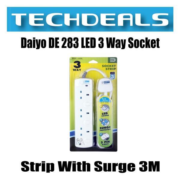 Daiyo DE 283 LED 3 Way Socket Strip With Surge
