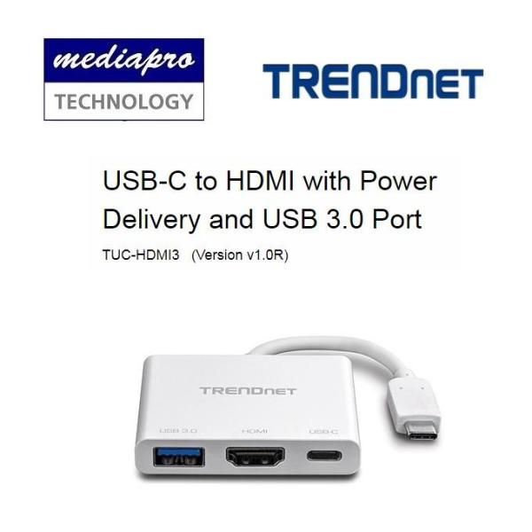 Trendnet TUC-HDMI3 USB-C to HDMI with Power Delivery and USB 3.0 Port