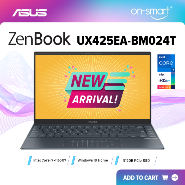 【Next Day Delivery】ASUS Zenbook 14 UX425EA-BM024T | Intel Core i7-1165G7 Processor | 16GB RAM | 512GB NVMe PCIe SSD | Intel Iris Xe Graphics | Windows 10 Home | 2 Years International Warranty