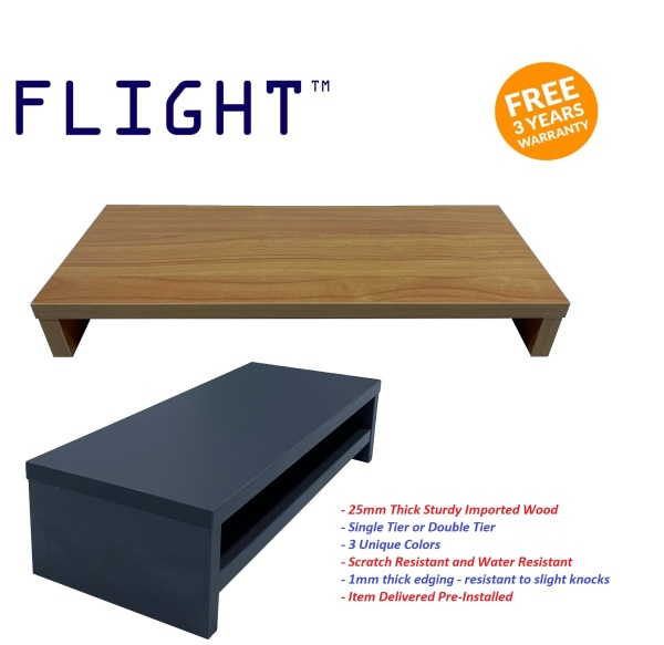 Flight™ Quality Monitor Stand Monitor Riser Wood Stand Laptop Stand Laptop Riser Desktop Shelf 25MM Thick Wood No Installation Required Scratch Resistant Water Resistant