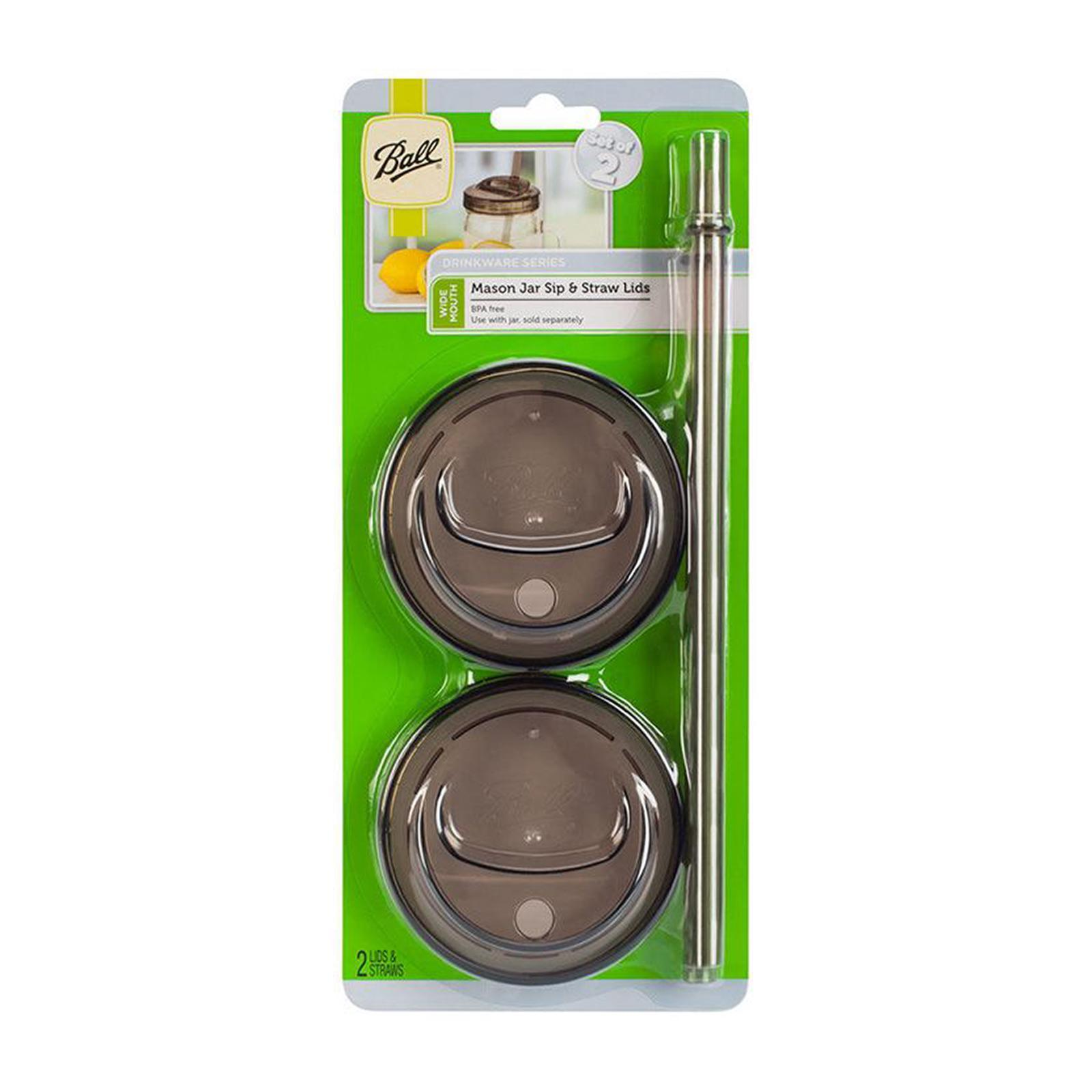 Ball Wide Mouth Gray Sip And Straw Lids For Mason Jars