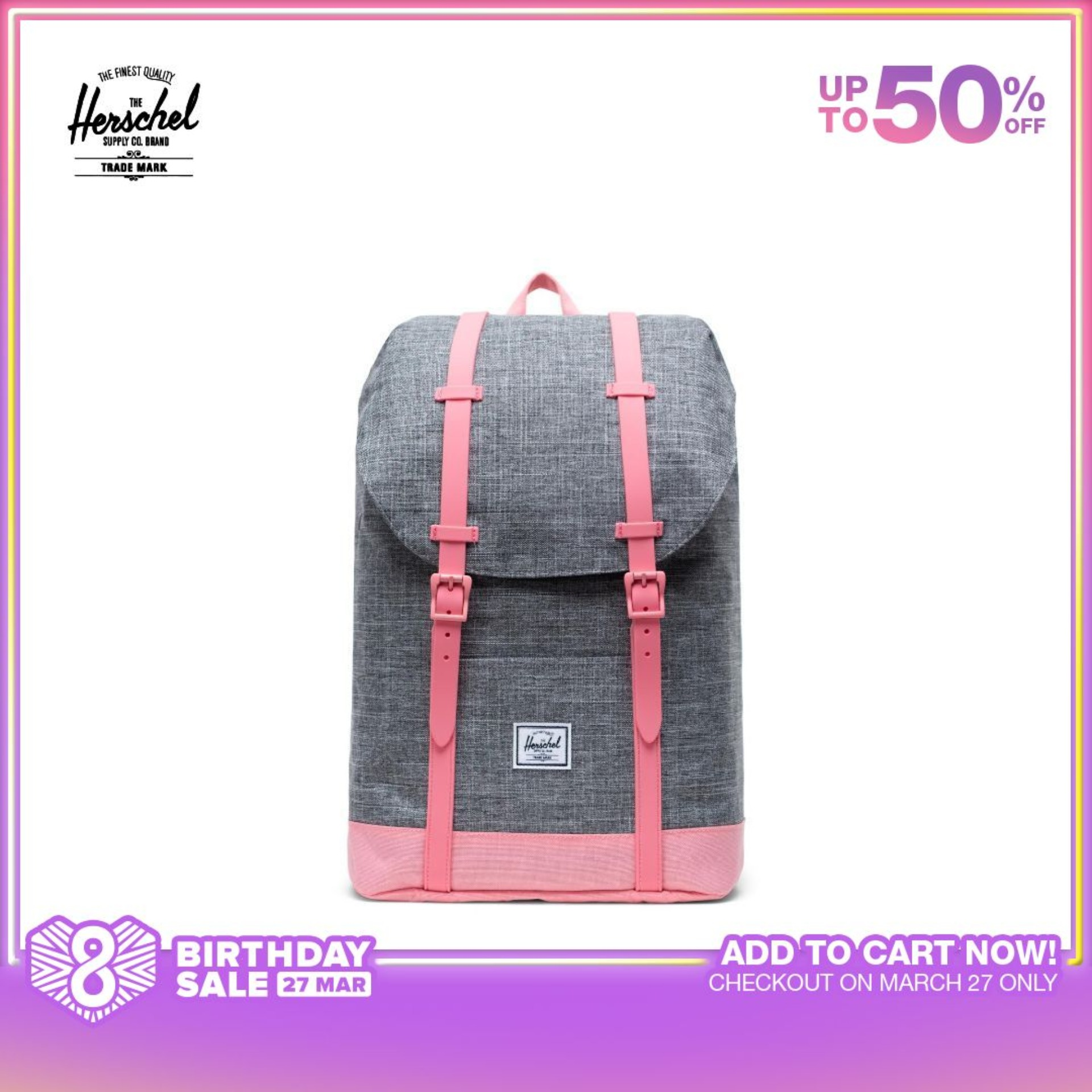 Herschel Retreat Backpack Youth - Raven Crosshatch/Flamingo Pink