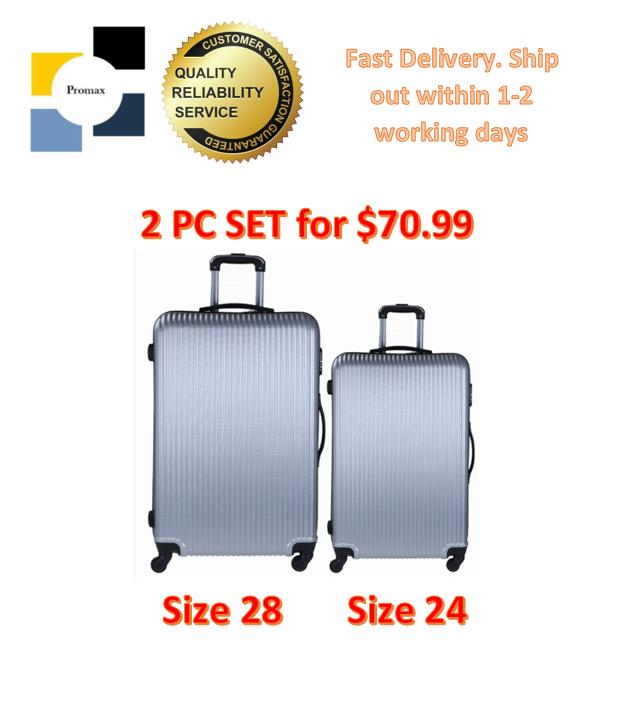 Luggage. Polo City. Set of 2 Pcs. Hard Case. Contains Check In Baggage 24 and Check In Baggage 28. 4 Wheel Movement. Comes with inline lock system. Local SG Seller. (Grey 005)