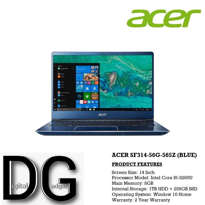 ACER SF314-56G-565Z (BLUE) 14 IN INTEL CORE I5-8265U 8GB 1TB HDD+256GB SSD WIN 10
