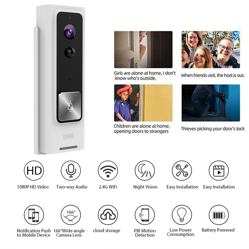 WiFi Video Wireless Doorbell Smart Doorbell 1080P HD Cloud Storage Security Camera with Motion Detection Night Vision