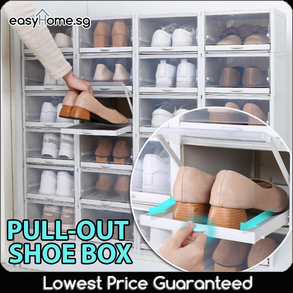 (Bundle of 3) Pullout Shoe Box / Storage Drawer Rack Organiser Stackable Cabinet Sturdy Hard Plastic