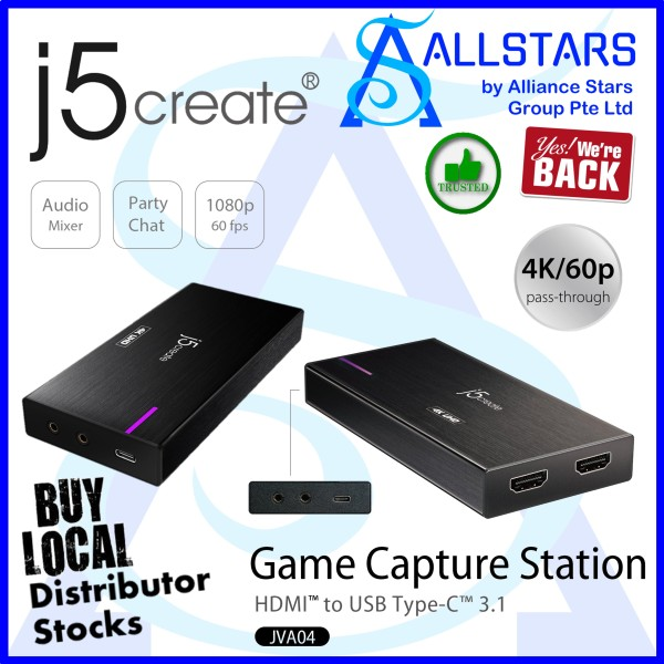 (ALLSTARS : We Are Back Promo) J5CREATE JVA04 Game Capture Station / HDMI 2.0 to USB3.0 (Warranty 2years with Digital HUB)