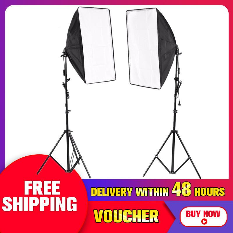 【free Shipping + Flash Deal】2x 500w Photo Video Studio E27 Lamp Softbox Light Stand Continuous Lighting Kit - Intl By Freebang.