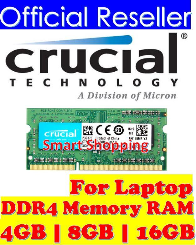 Crucial 16gb Ddr4 2666mhz Cl19 1.2v Non-Ecc Sodimm, So-Dimm Laptop Ram 2666 Notebook Memory Ct16g4sfd8266 By Smart Shopping.