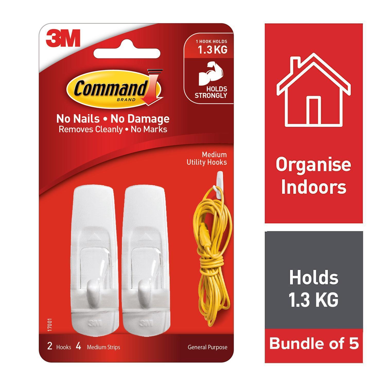 [Bundle of 5] 3M Command Medium Hooks 2 Pcs With 4 Strips [17001]