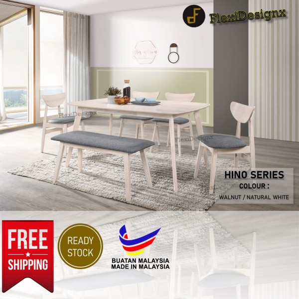 FREE SHIPPING - FlexiDesignx Pansy Solid Durable Modern Dining Room Set 4 Seater / 6 Seater / Dining Chair / Restaurant / Cafe / Dining Set