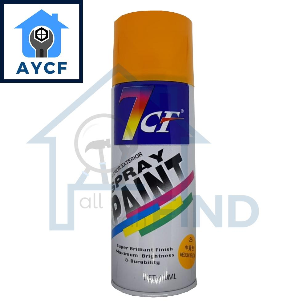 (BUNDLE OF 12) 7CF Interior / Exterior Spray Paint 400ml - Medium Yellow