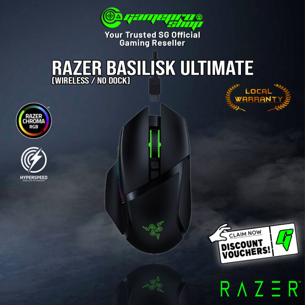Razer Basilisk Ultimate Ergonomic Wired/Wireless Gaming Mouse (Without Dock) - RZ01-03170200-R3A1 (2Y)