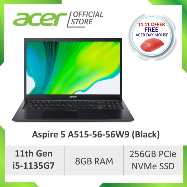 [NEW MODEL] Acer Aspire 5 A515-56-56W9 (Black) 15.6 Inches FHD Laptop with latest 11th Gen i5-1135G7 Processor