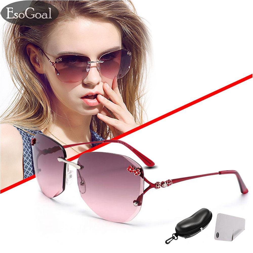a928320a4a EsoGoal Newest Women Sunglasses Square Oversized Rimless Diamond Cutting  Lens Fashion Shades Sun Glasses With-