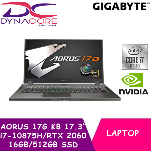 DYNACORE - GIGABYTE AORUS 17G KB – 8SG2130MH 17.3 240Hz FHD Panel/i7-10875H/RTX 2060 GDDR6 6GB/16GB DDR4 2933MHz (8GB*2)/512GB M.2 PCIe SSD/WIN 10 HOME w/BAG+MOUSE