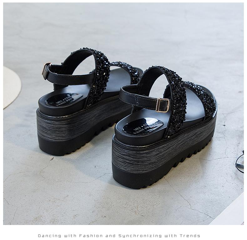 Muffin Sandals Female Thick Bottomed Man-made Diamond Summer 2019 New Style  Versatile Korean Style Slanted Heel Fashion Leisure Straight-line Buckle
