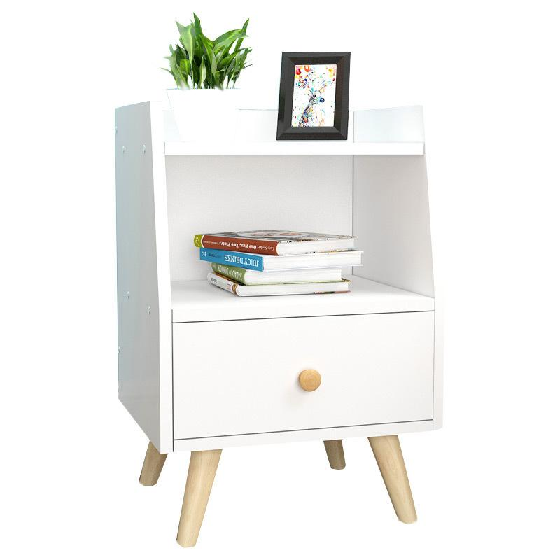 white Simple Wooden Bedside Table With Drawer