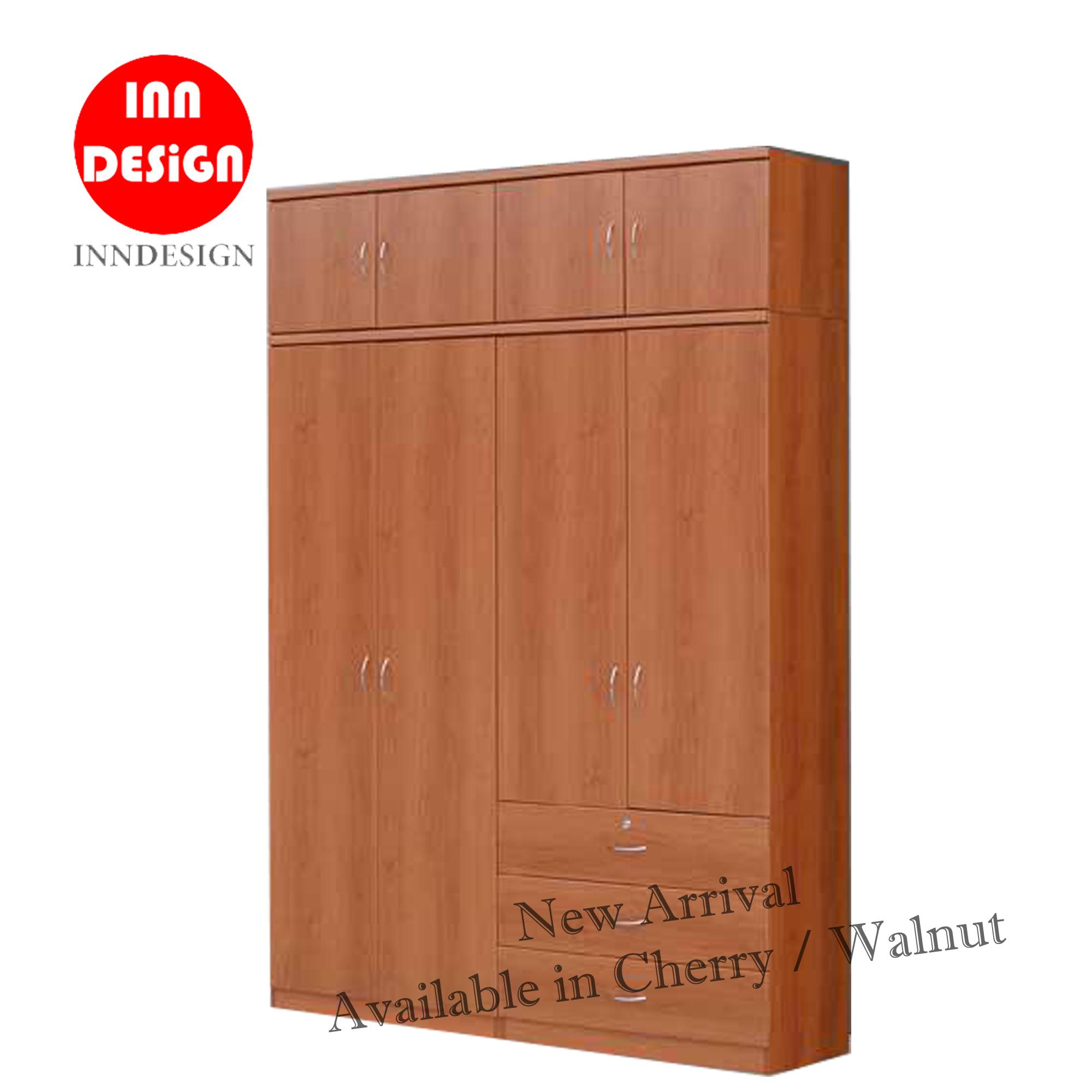 Nex 5ft Wardrobe With Top and Drawer (Free Delivery and Installation) (Cheey / Walnut Colour)