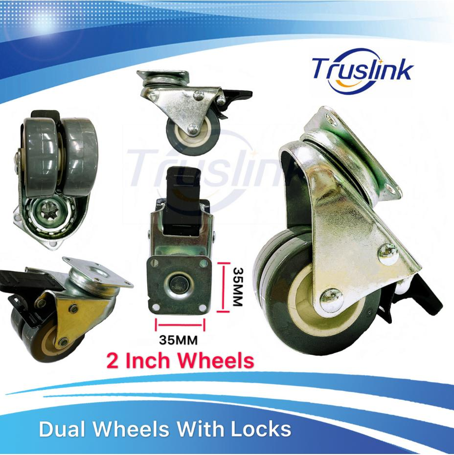 [SG Seller]Truslink(4PCs) High Quality Movable Dual Wheels With Brakes/Locks Universal Wheel With Hole Dimentison 35mmX35mm 4 Heavy Duty 350kg PU Swivel Castor Wheels Trolley Furniture Caster Rubber Industrial Wheels,Double Bearing Polyurethane Wheel