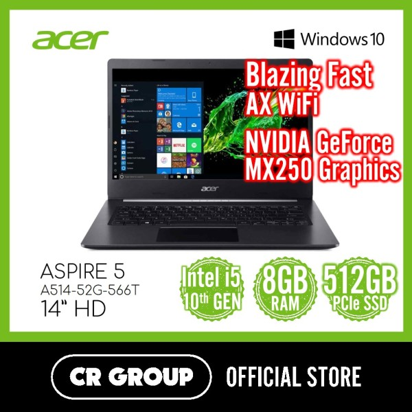 Acer Aspire 5 A514-52G-566T 14 Inch | 10th i5-10210U | 8GB DDR4 RAM | 512 PCle SSD | NVIDIA Geforce MX250 Graphics