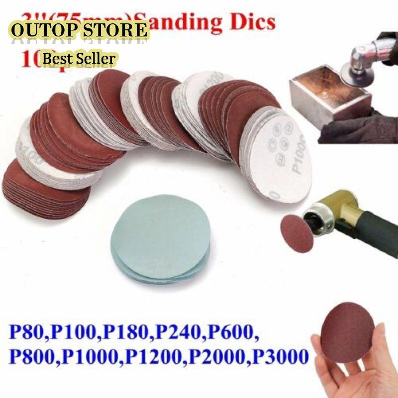 OUTOP 100Pcs 3 Inch 75mm Sandpaper Sander Disc Mix Sanding Polishing Pad 80-3000 grits