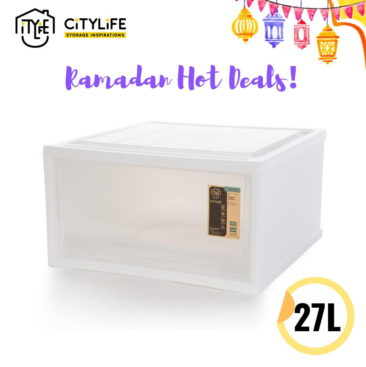 [BUNDLE of 3] Citylife Single Tier Drawer 35L/27L * Stackable and sturdy design !