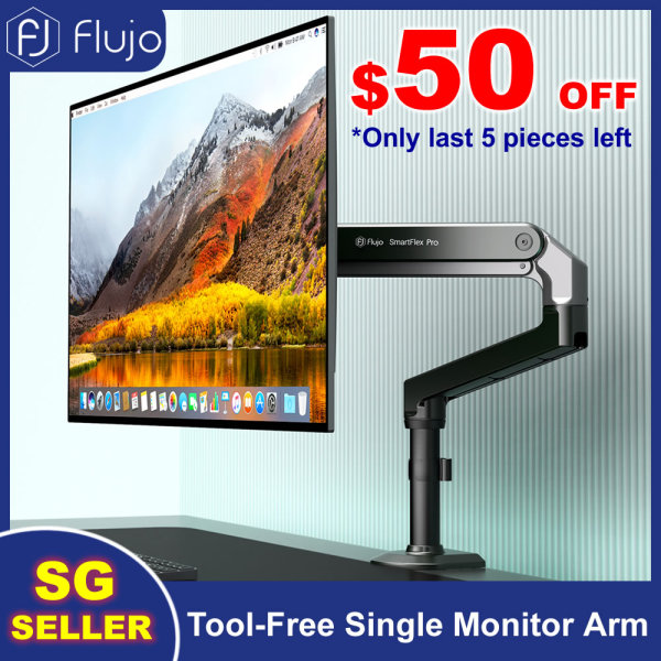 Flujo Single Monitor Arm Ergonomic Desk Mount Tool Free 360°Fully Adjustable Spring Monitor Lift VESA Mount with C-Clamp Fits 19-34 LCD LED Screen, Aluminium Computer Monitor Stand Support up to 8kg