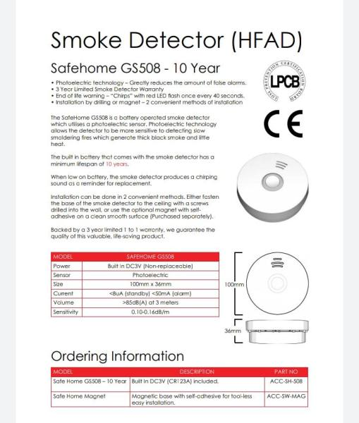 Home Fire Alarm Device - Smoke Detector