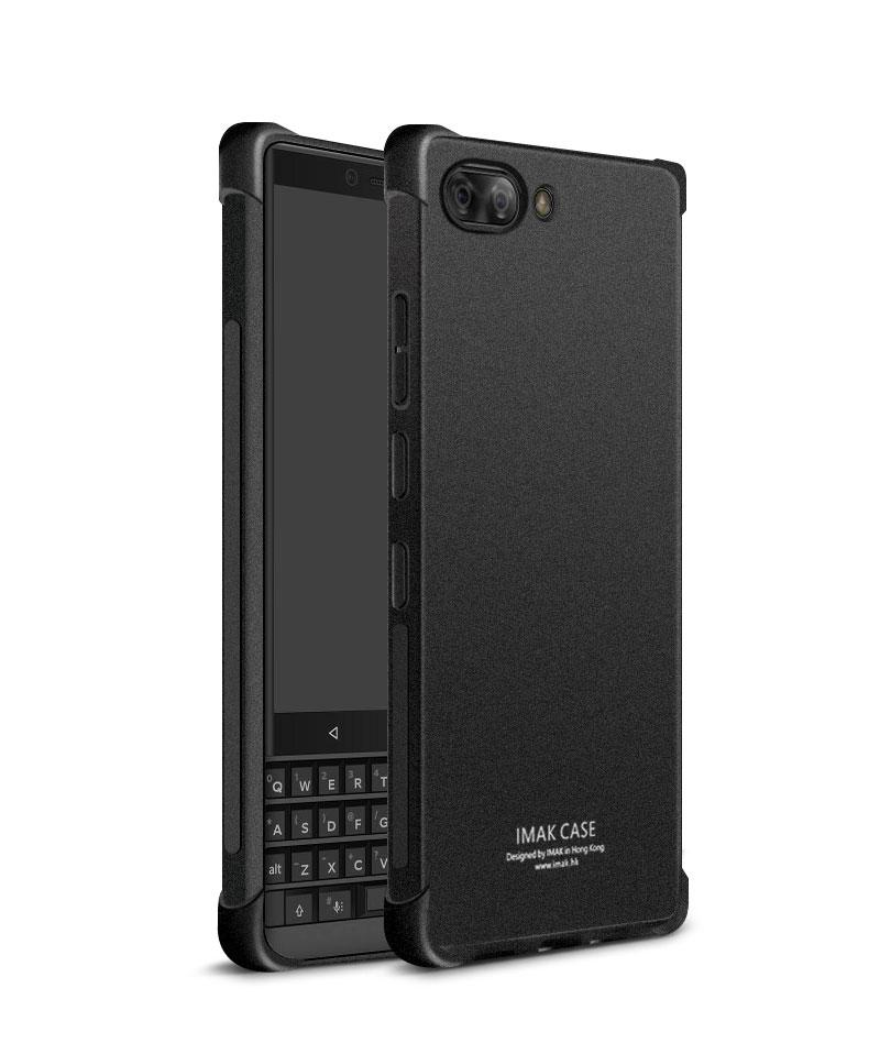 Blackberry Key 2 / Key 2 Le - Imak Shock Resistant Case Full Coverage Casing Cover Airbag Version Clear Matte Transparent Black Metal Jet *free Screen Protector With Every Case Purchased*.