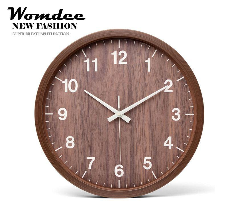 Womdee 12 Inches Simple Style Creativity Quartz Clock Imitation Wood Design Bedroom Living Room Wall Clock - intl