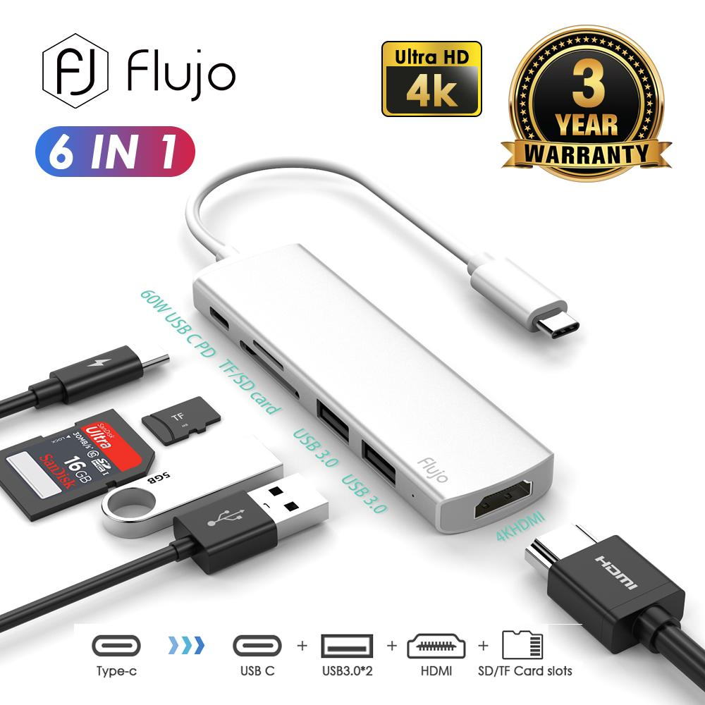 Flujo CH-54 USB C Hub, 6 in 1 Type C Hub Adapter - 60W Power Delivery, USB C to HDMI 4K, Card Reader and 2 USB 3.0 Ports, for MacBook pro; Google Chromebook; Samsung Galaxy S8/S9 and Other USB C Device