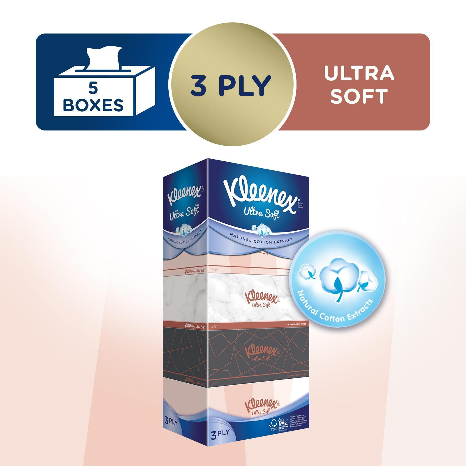 Kleenex Ultra Soft Facial Tissue Lifestyle 3-Ply