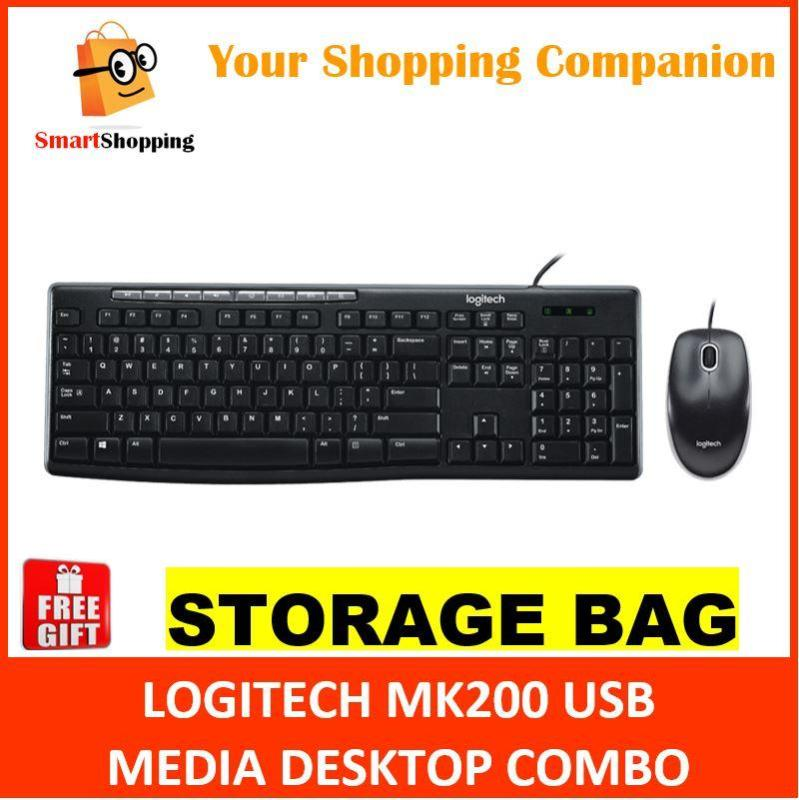 Logitech MK200 USB Multi Media Wired Combo Keyboard Mouse SG Warranty 920-002693 Singapore