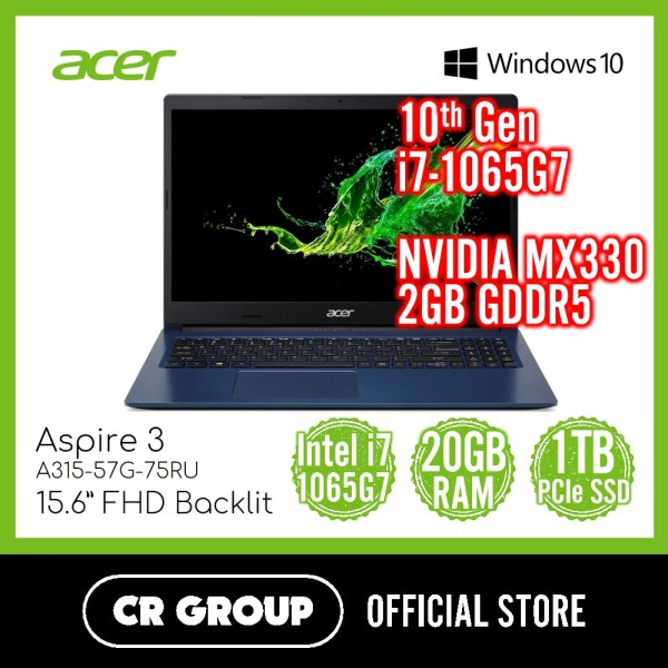 [Same Day Delivery] Acer Aspire 3 A315-57G-75RU 15.6 Inch FHD | Intel i7-1065G7 | 20GB DDR4 RAM | 1 TB PCle SSD | NVIDIA GeForce MX330 2GB GDDR5